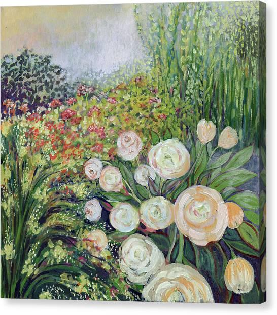 Impressionist Canvas Print - A Garden Romance by Jennifer Lommers