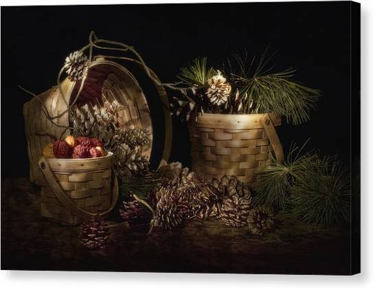 Basket Canvas Print - A Gathering Of Pine by Tom Mc Nemar