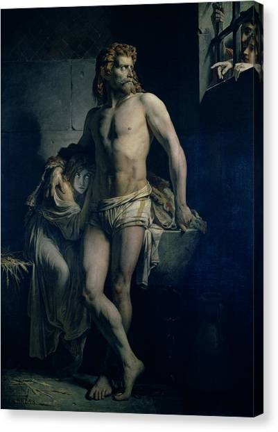 Dungeons Canvas Print - A Gaul And His Daughter Imprisoned In Rome by Felix-Joseph Barrias