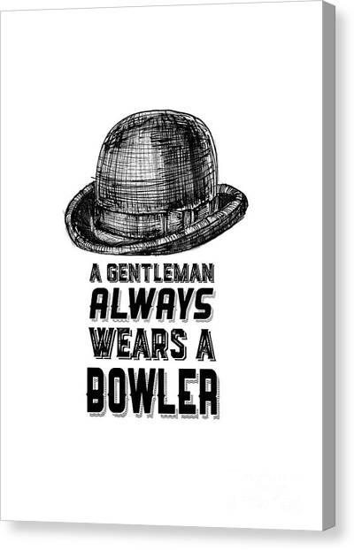 Hoodie Canvas Print - A Gentleman Always Wears A Bowler by Edward Fielding