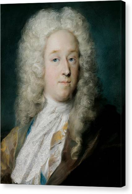 Rococo Art Canvas Print - A Gentleman In A Gold Patterned Coat And Violet-brown Cape by Rosalba Carriera