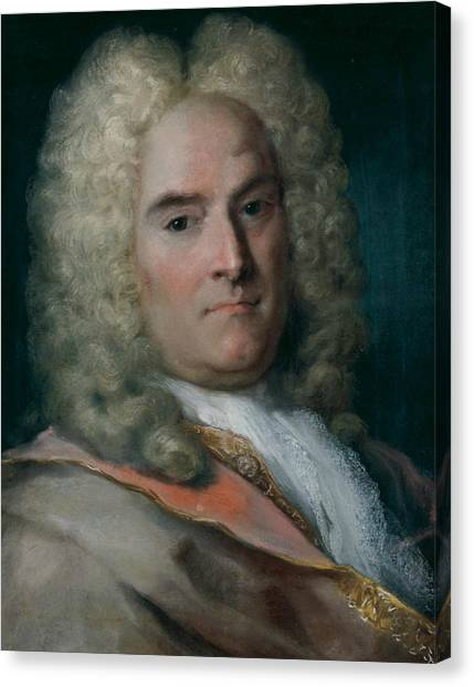 Rococo Art Canvas Print - A Gentleman In A Gray Cape Over A Gold-embroidered Coat by Rosalba Carriera