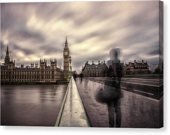 Parliament Canvas Print - A Ghostly Figure by Martin Newman