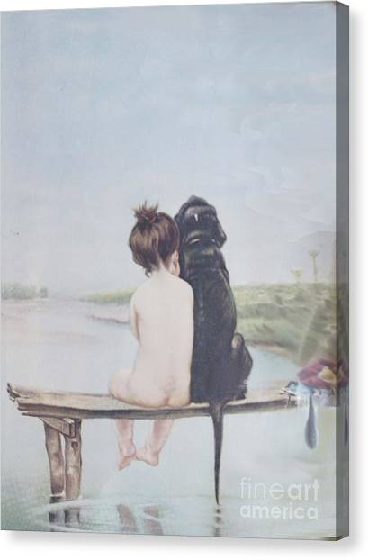 Dock Canvas Print - Bathing Beauties By Bruno Piglhein by Priscilla Wolfe