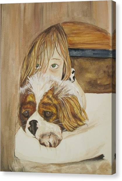 A Girl And Her Puppy Canvas Print by Tabitha Marshall