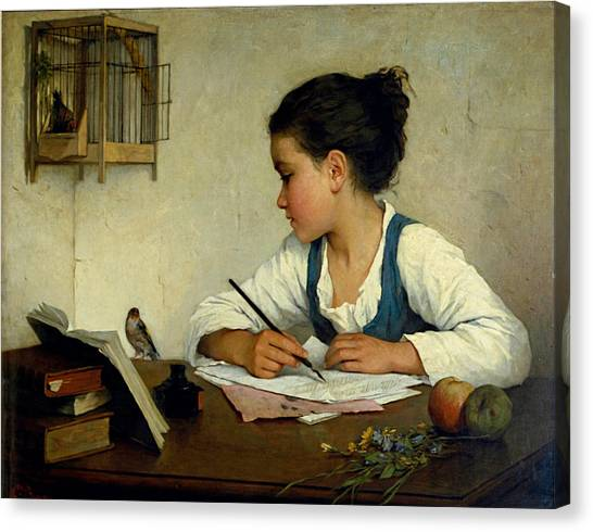 Canvas Print featuring the painting A Girl Writing. The Pet Goldfinch by Henriette Browne