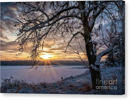 Canvas Print featuring the photograph A Glenmore Sunset by Brad Allen Fine Art