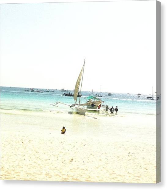 White Sand Canvas Print - White Sand Beach by Carolyn Flores