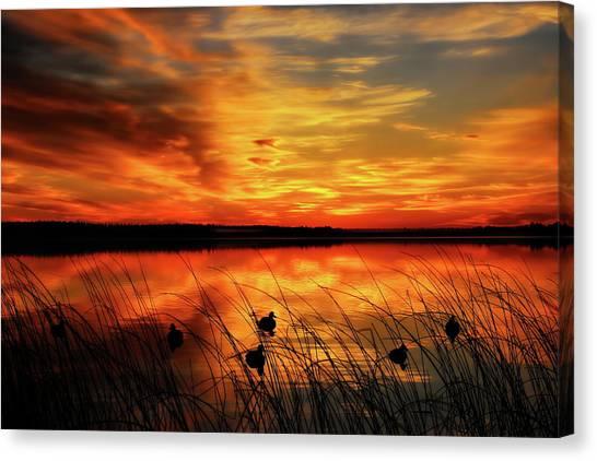 A Golden Sunrise Duck Hunt Canvas Print
