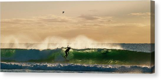 A Golden Surfing Moment Canvas Print