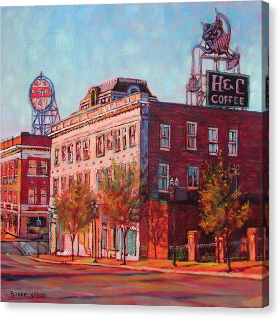 City Sunrises Canvas Print - A Good Blend - H And C Coffee Sign And Dr. Pepper Sign In Roanoke Virginia by Bonnie Mason
