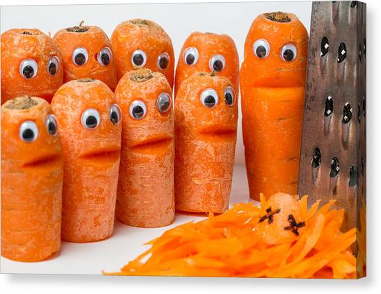 Canvas Print featuring the photograph A Grate Carrot 2. by Gary Gillette