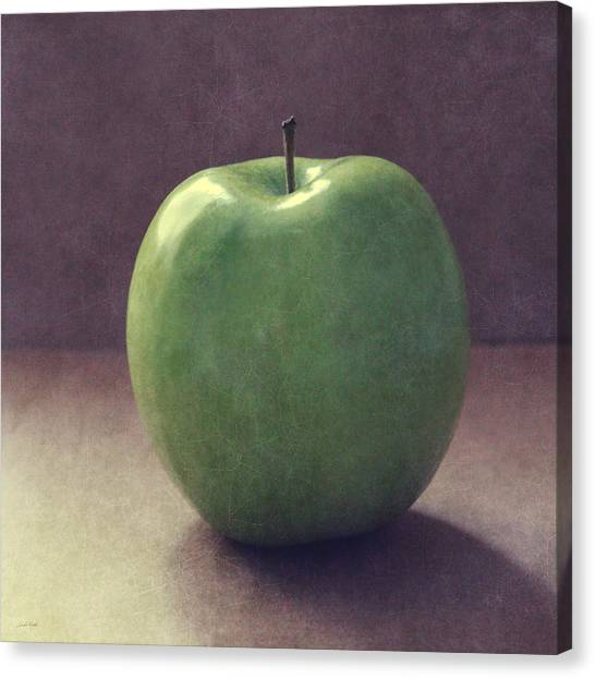 Fruit Canvas Print - A Green Apple- Art By Linda Woods by Linda Woods