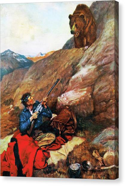 A Grizzly Surprise Canvas Print