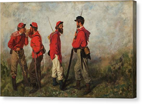 The Legion Canvas Print - A Group Of Garibaldians by Filippo Palizzi