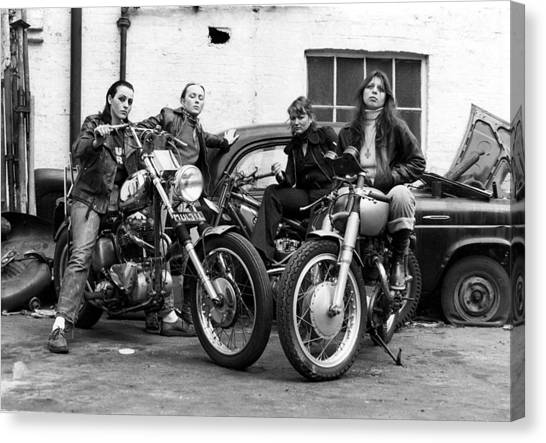 A Group Of Women Associated With The Hells Angels, 1973. Canvas Print