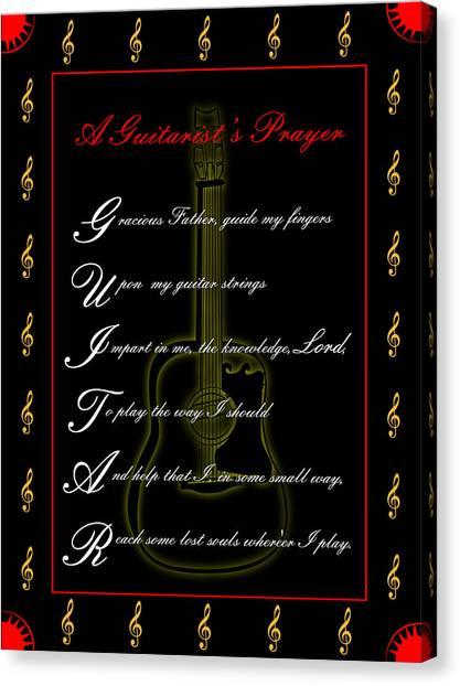 A Guitarist Prayer_1 Canvas Print by Joe Greenidge