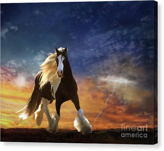 Canvas Print featuring the digital art A Gypsy Storm by Melinda Hughes-Berland