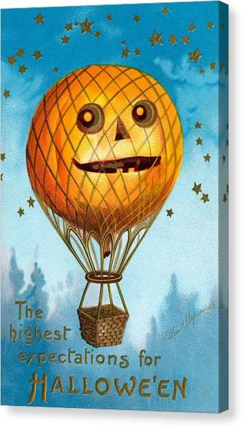 Ballooning Canvas Print - A Halloween Pumpkin Hot Air Balloon by Ellen Hattie Clapsaddle