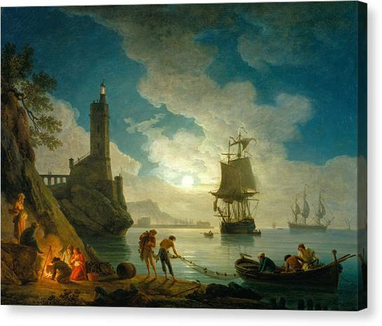 18th Century Canvas Print - A Harbor In Moonlight by Claude-Joseph Vernet