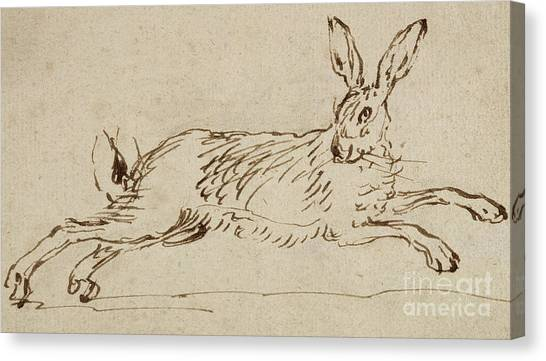 Hare Canvas Print - A Hare Running, With Ears Pricked  by James Seymour