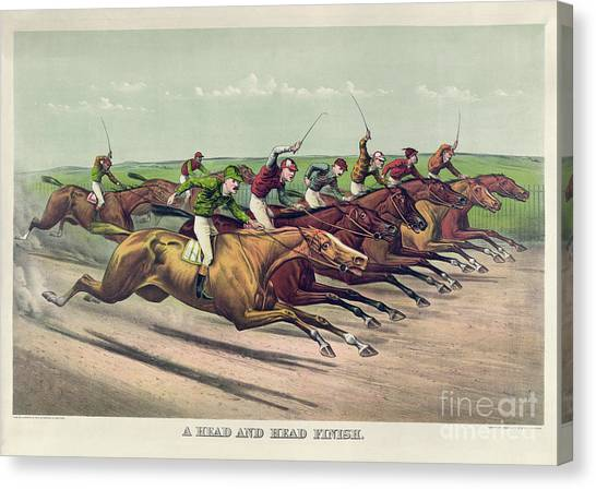 Finish Line Canvas Print - A Head And Head Finish by Currier and Ives