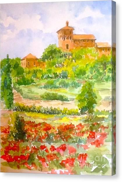 A Hillside Near San Gimignano Canvas Print