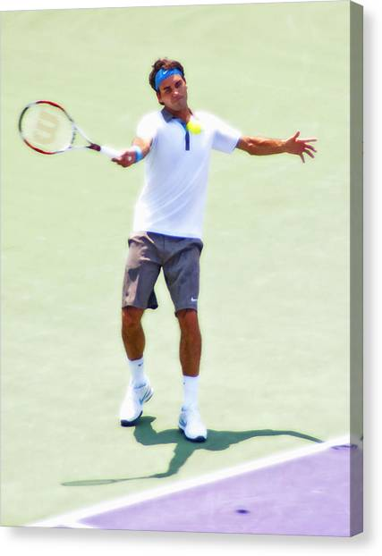 Tennis Pros Canvas Print - A Hug From Roger by Steven Sparks