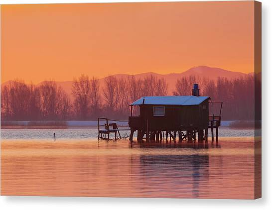 Canvas Print featuring the photograph A Hut On The Water by Davor Zerjav