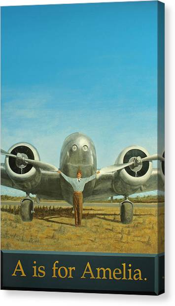 Aviators Canvas Print - A Is For Amelia by Laurie Stewart