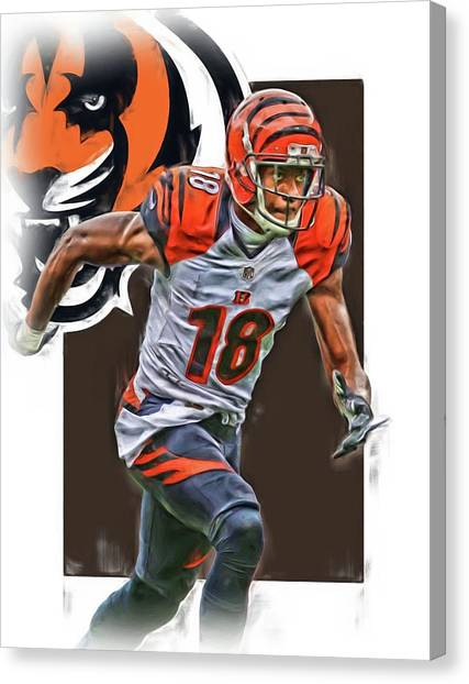 Cincinnati Bengals Canvas Print - A J Green Cincinnati Bengals Oil Art by Joe Hamilton