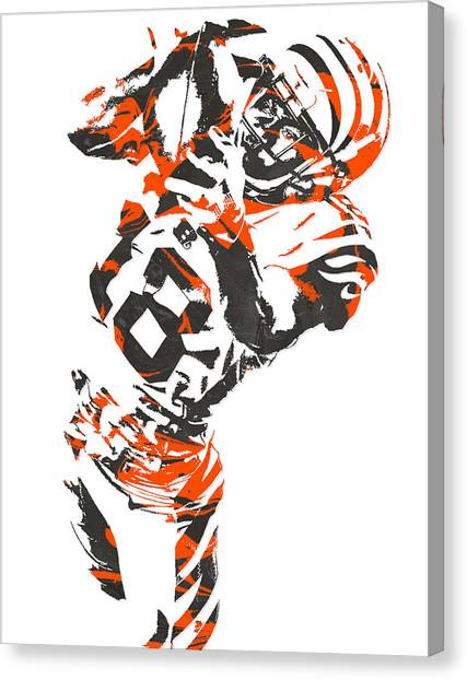 Cincinnati Bengals Canvas Print - A J Green Cincinnati Bengals Pixel Art 3 by Joe Hamilton