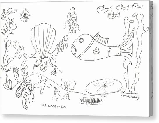 A Jellie And Sea Creatures Canvas Print