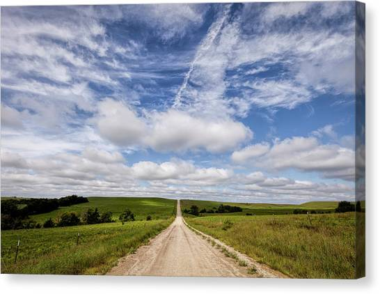Country Roads Canvas Print - A Kansas Country Road by Scott Bean