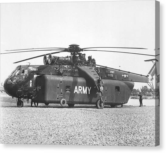 Skycrane Canvas Print - A Large Ch-54 Skycrane Helicopter Used by Stocktrek Images