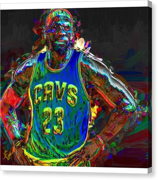 Basketball Canvas Print - A Lebron James Creative Edit Digital by David Haskett II