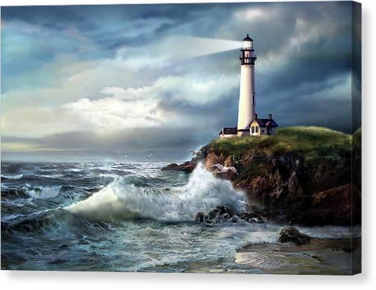 Gina Femrite Canvas Print - A Light Of Hope, Pigeon Point Lighthouse  by Regina Femrite