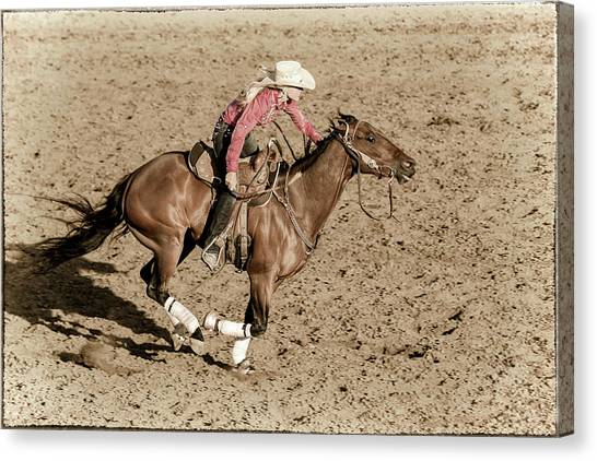 Barrel Racing Canvas Print - A Little Encouragement by Caitlyn Grasso