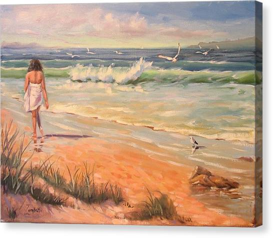Seagrass Canvas Print - A Little Piece Of Heaven Donated For Breast Cancer Auction by Laura Lee Zanghetti