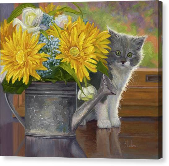 Indoors Canvas Print - A Little Shy by Lucie Bilodeau