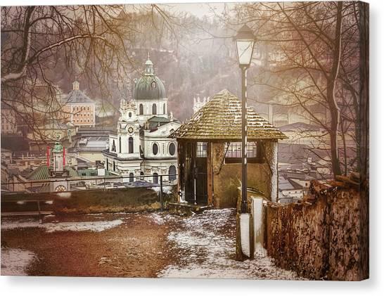 Streetlight Canvas Print - A Little Snow In Salzburg  by Carol Japp