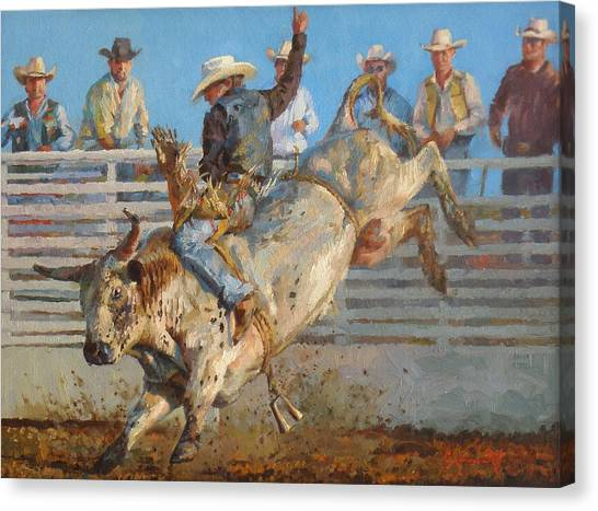 Bull Riding Canvas Print - A Long 8 Seconds by Jim Clements