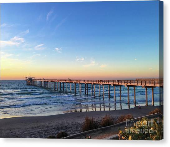 A Long Look At Scripps Pier At Sunset Canvas Print
