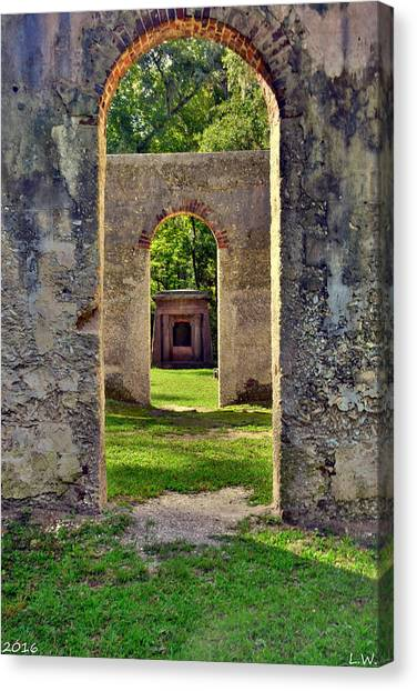 A Look Through Chapel Of Ease St. Helena Island Beaufort Sc Canvas Print