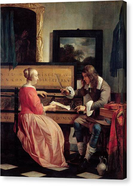 67 Canvas Print - A Man And A Woman Seated By A Virginal by Gabriel Metsu