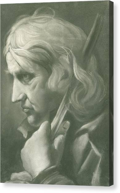 Long Hair Canvas Print - A Man Leaning On A Staff by Thomas Frye