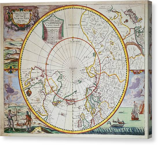 John Boats Canvas Print - A Map Of The North Pole by John Seller