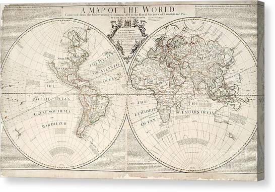 Cartography Canvas Print - A Map Of The World by John Senex