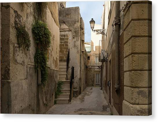A Marble Staircase To Nowhere - Tiny Italian Lane In Syracuse Sicily Canvas Print