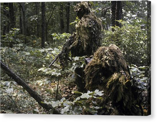Special Forces Canvas Print - A Marine Sniper Team Wearing Camouflage by Stocktrek Images